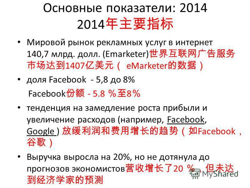 Основные показатели: 2014 2014 Мировой рынок рекламных услуг в интернет 140,7 млрд. долл. (Emarketer) 1407 eMarketer доля Facebook - 5,8 до 8% Facebook - 5.8 8 тенденция на замедление роста прибыли и увеличение расходов (например, Facebook, Google )