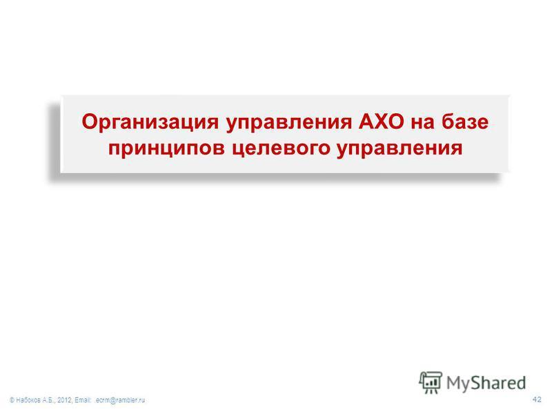 Организация управления АХО на базе принципов целевого управления © Набоков А.Б., 2012, Email: ecrm@rambler.ru 42