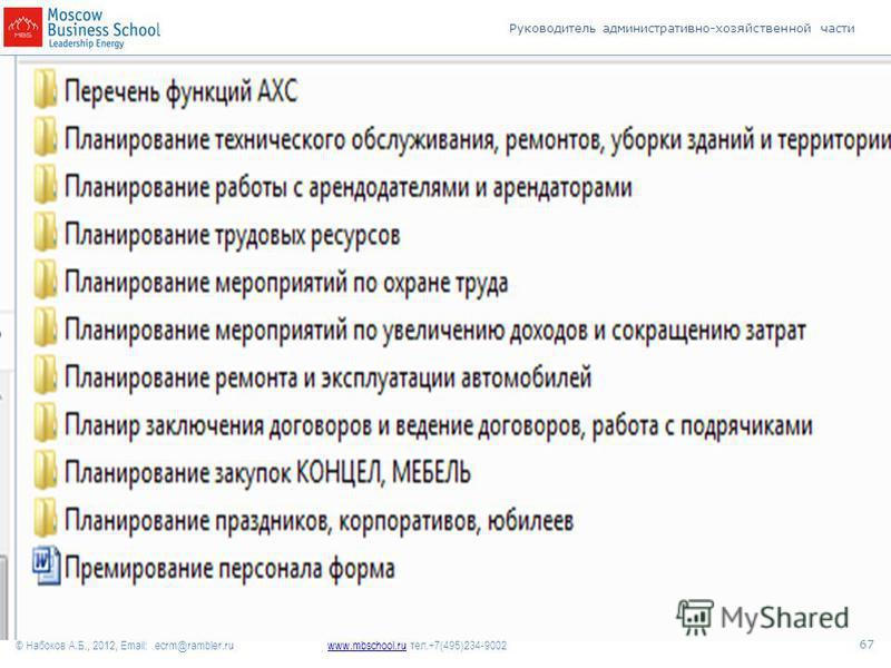 Руководитель административно-хозяйственной части www.mbschool.ruwww.mbschool.ru тел.+7(495)234-9002 © Набоков А.Б., 2012, Email: ecrm@rambler.ru 67