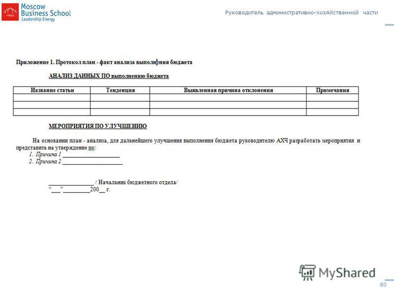 Руководитель административно-хозяйственной части www.mbschool.ruwww.mbschool.ru тел.+7(495)234-9002 © Набоков А.Б., 2012, Email: ecrm@rambler.ru 80