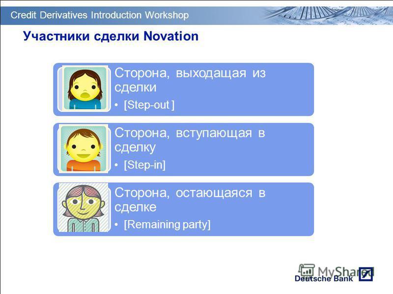 GT PM Transition & Deployment Участники сделки Novation Сторона, выходащая из сделки [Step-out ] Сторона, вступающая в сделку [Step-in] Сторона, остающаяся в сделке [Remaining party] Credit Derivatives Introduction Workshop