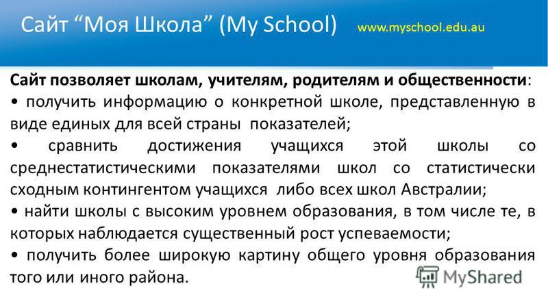 Сайт Моя Школа (My School) www.myschool.edu.au Сайт позволяет школам, учителям, родителям и общественности: получить информацию о конкретной школе, представленную в виде единых для всей страны показателей; сравнить достижения учащихся этой школы со с