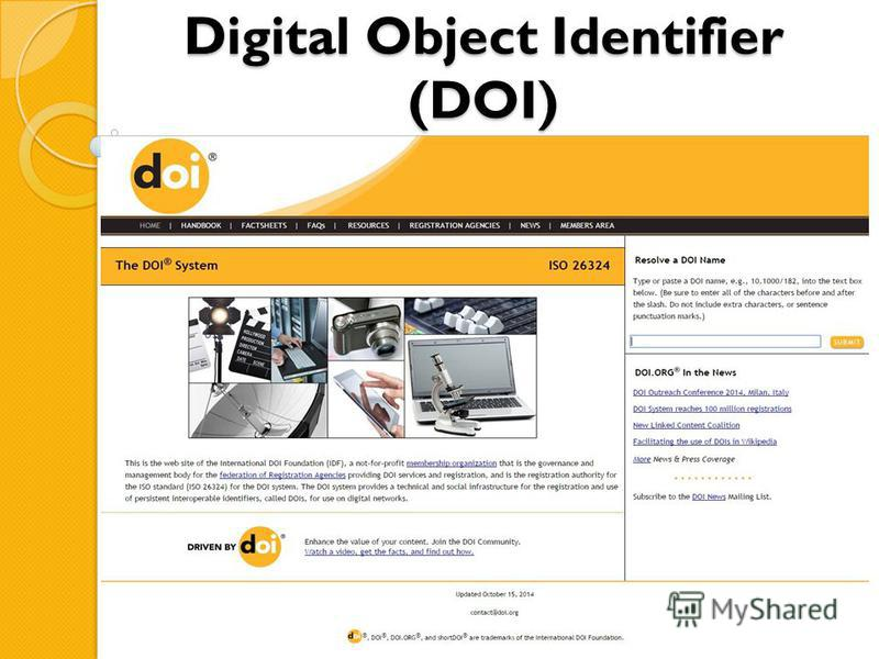 Digital Object Identifier (DOI)