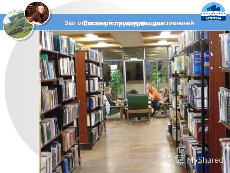 Зал отраслевой литературы до изменений После реструктуризации