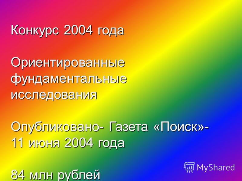 Конкурс 2004 года Ориентированные фундаментальные исследования Опубликовано- Газета «Поиск»- 11 июня 2004 года 84 млн рублей