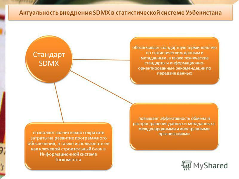 Актуальность внедрения SDMX в статистической системе Узбекистана Стандарт SDMX обеспечивает стандартную терминологию по статистическим данным и метаданным, а также технические стандарты и информационно- ориентированные рекомендации по передаче данных