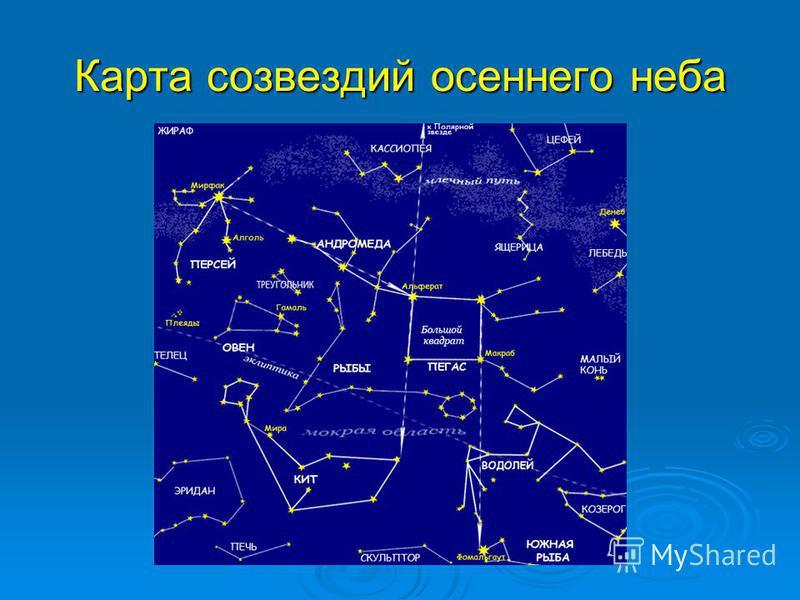 Карта созвездий осеннего неба