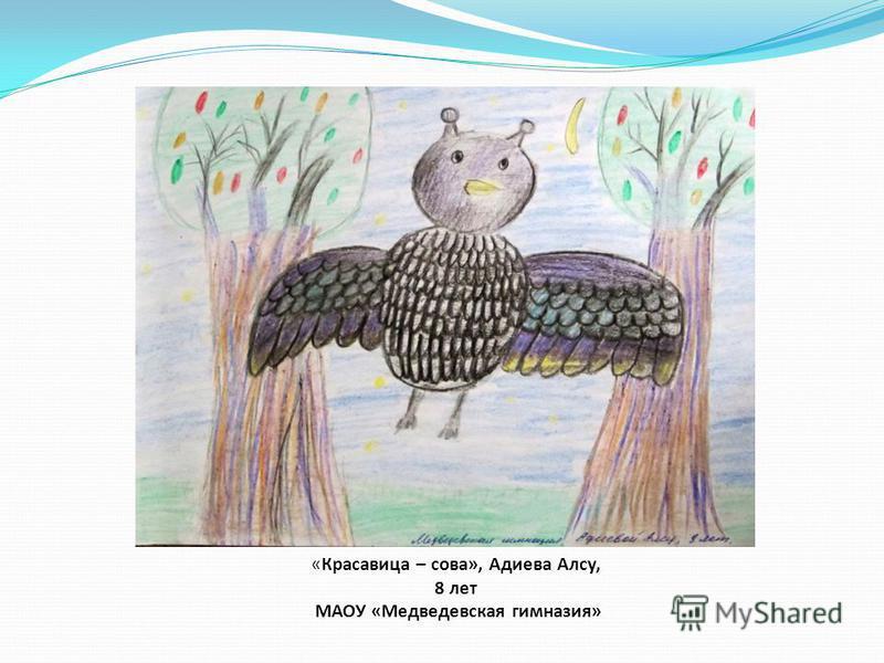 «Красавица – сова», Адиева Алсу, 8 лет МАОУ «Медведевская гимназия»