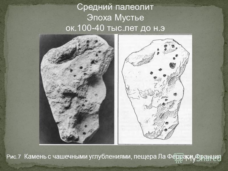 Средний палеолит Эпоха Мустье ок.100-40 тыс.лет до н.э Рис.7 Камень с чашечными углублениями, пещера Ла Ферраси,Франция