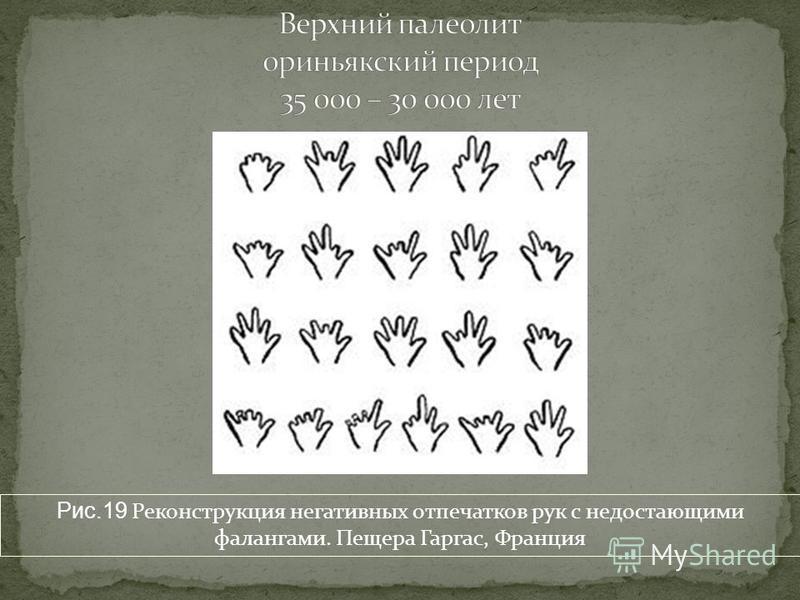 Рис.19 Реконструкция негативных отпечатков рук с недостающими фалангами. Пещера Гаргас, Франция