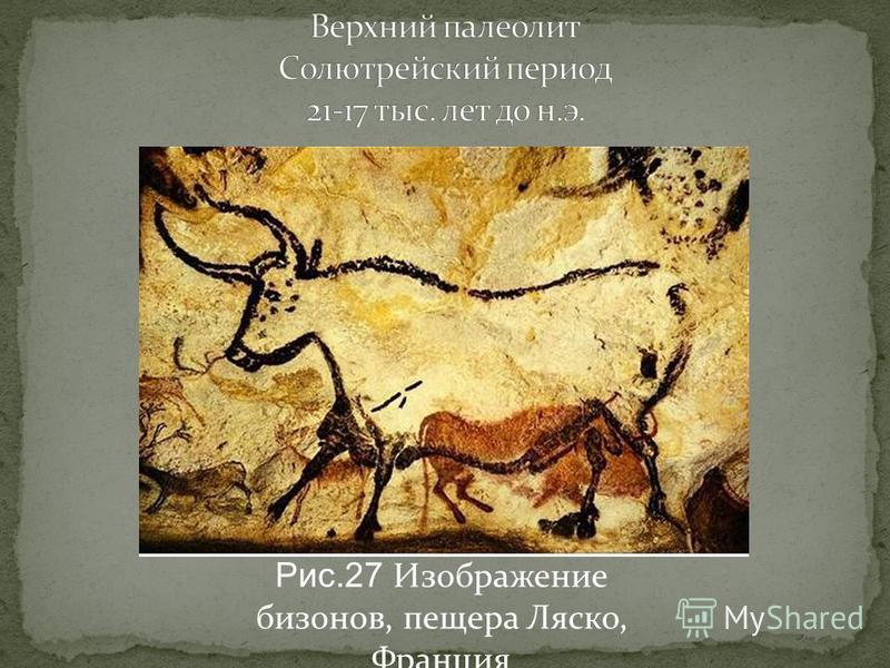Рис.27 Изображение бизонов, пещера Ляско, Франция