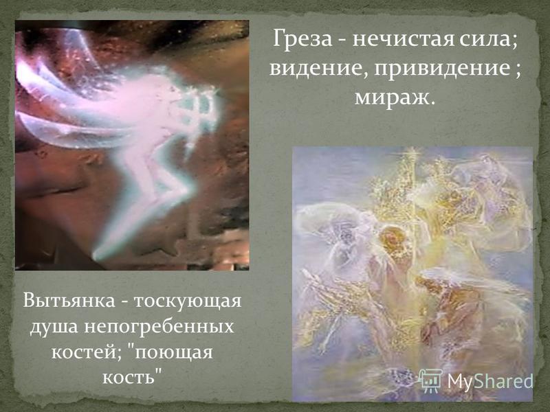 Вытьянка - тоскующая душа не погребенных костей; поющая кость Греза - нечистая сила; видение, привидение ; мираж.