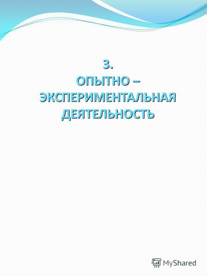 3. ОПЫТНО – ЭКСПЕРИМЕНТАЛЬНАЯ ДЕЯТЕЛЬНОСТЬ