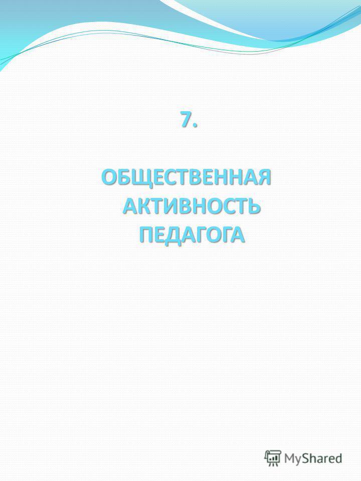 7. ОБЩЕСТВЕННАЯ АКТИВНОСТЬ ПЕДАГОГА 7. ОБЩЕСТВЕННАЯ АКТИВНОСТЬ ПЕДАГОГА