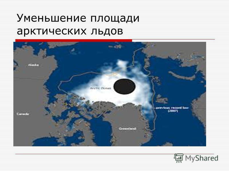 Уменьшение площади арктических льдов