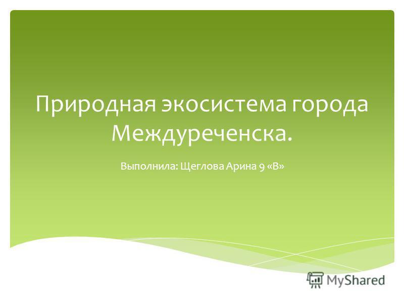 Природная экосистема города Междуреченска. Выполнила: Щеглова Арина 9 «В»