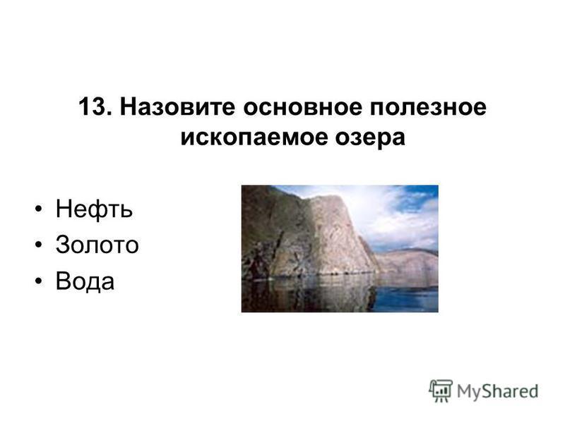 13. Назовите основное полезное ископаемое озера Нефть Золото Вода