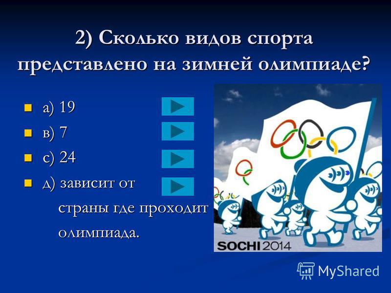 1) Кто из представленных зверей выбран талисманом олимпийских игр в СОЧИ? a) леопард a) леопард в) все три в) все три зверя зверя с) заяц с) заяц д) белый медведь д) белый медведь