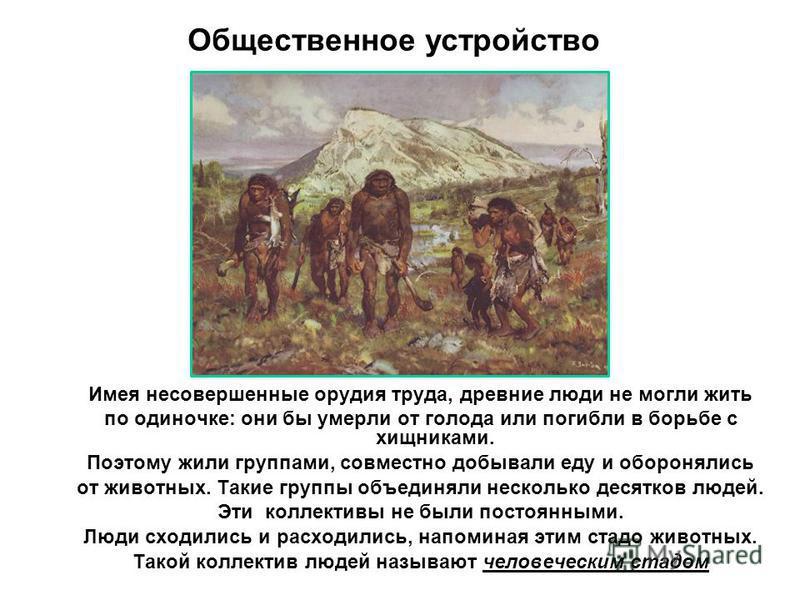 Имея несовершенные орудия труда, древние люди не могли жить по одиночке: они бы умерли от голода или погибли в борьбе с хищниками. Поэтому жили группами, совместно добывали еду и оборонялись от животных. Такие группы объединяли несколько десятков люд