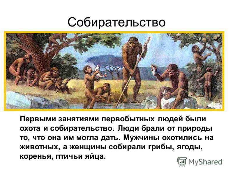 Собирательство Первыми занятиями первобытных людей были охота и собирательство. Люди брали от природы то, что она им могла дать. Мужчины охотились на животных, а женщины собирали грибы, ягоды, коренья, птичьи яйца.
