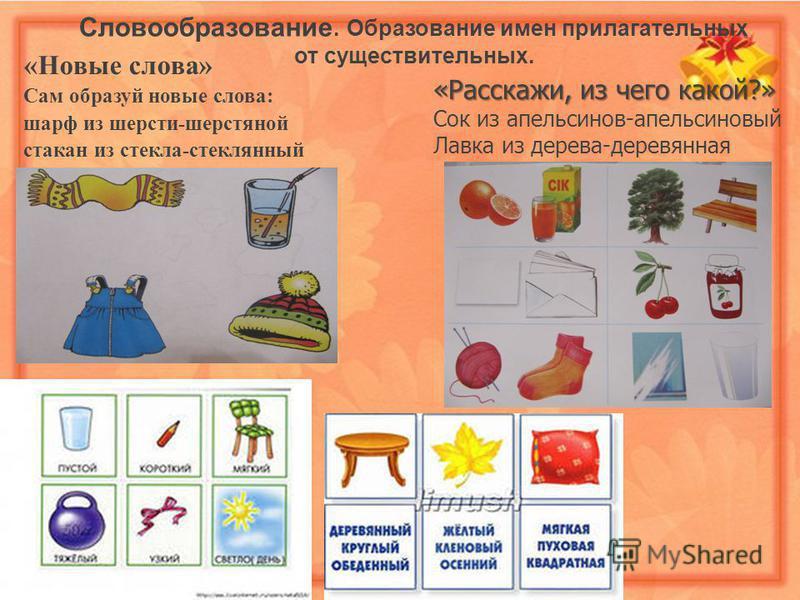 Словообразование. Образование имен прилагательных от существительных. «Новые слова» Сам образуй новые слова: шарф из шерсти-шерстяной стакан из стекла-стеклянный «Расскажи, из чего какой?» Сок из апельсинов-апельсиновый Лавка из дерева-деревянная