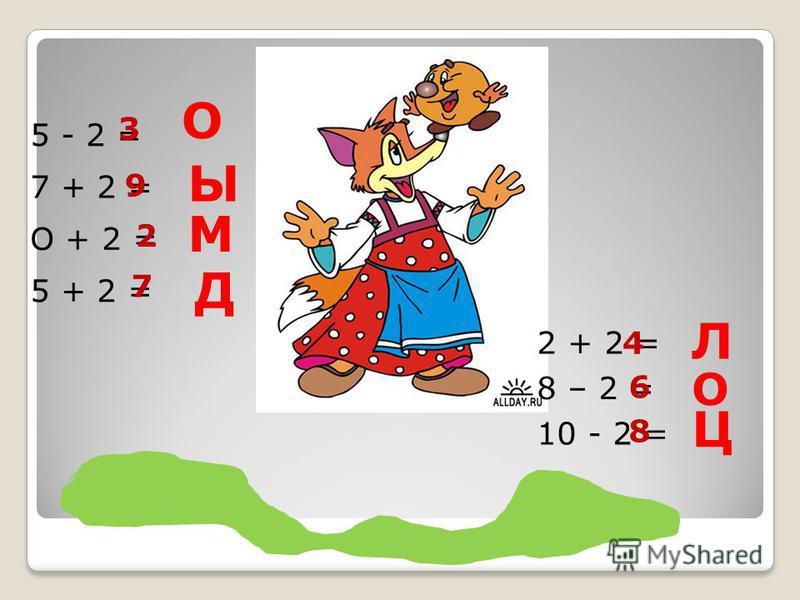 5 - 2 = 7 + 2 = О + 2 = 5 + 2 = 3 О Ы 9 2 М 7 Д 2 + 2 = 8 – 2 = 10 - 2 = Л 4 6 О Ц 8 !