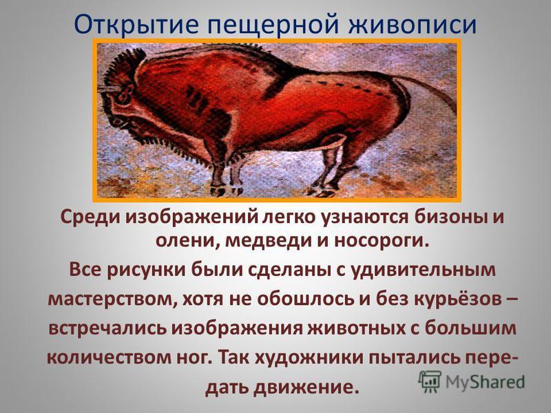Открытие пещерной живописи Среди изображений легко узнаются бизоны и олени, медведи и носороги. Все ржисунки были сделаны с удивительным мастерством, хотя не обошлось и без курьёзов – встречались изображения животных с большим количеством ног. Так ху