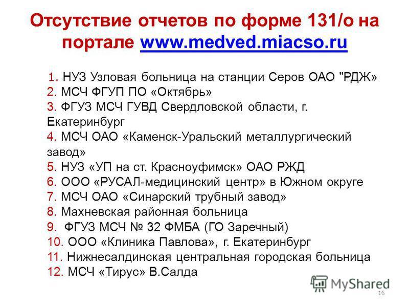 1. НУЗ Узловая больница на станции Серов ОАО