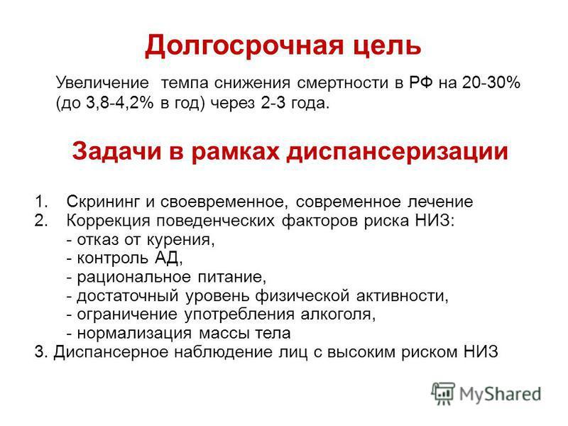 Долгосрочная цель Увеличение темпа снижения смертности в РФ на 20-30% (до 3,8-4,2% в год) через 2-3 года. Задачи в рамках диспансеризации 1. Скрининг и своевременное, современное лечение 2. Коррекция поведенческих факторов риска НИЗ: - отказ от курен