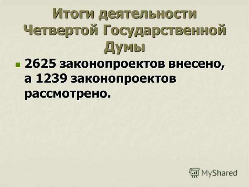 Итоги деятельности Четвертой Государственной Думы 2625 законопроектов внесено, а 1239 законопроектов рассмотрено. 2625 законопроектов внесено, а 1239 законопроектов рассмотрено.