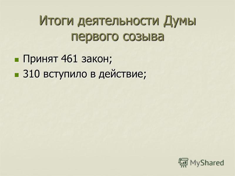 Итоги деятельности Думы первого созыва Принят 461 закон; Принят 461 закон; 310 вступило в действие; 310 вступило в действие;