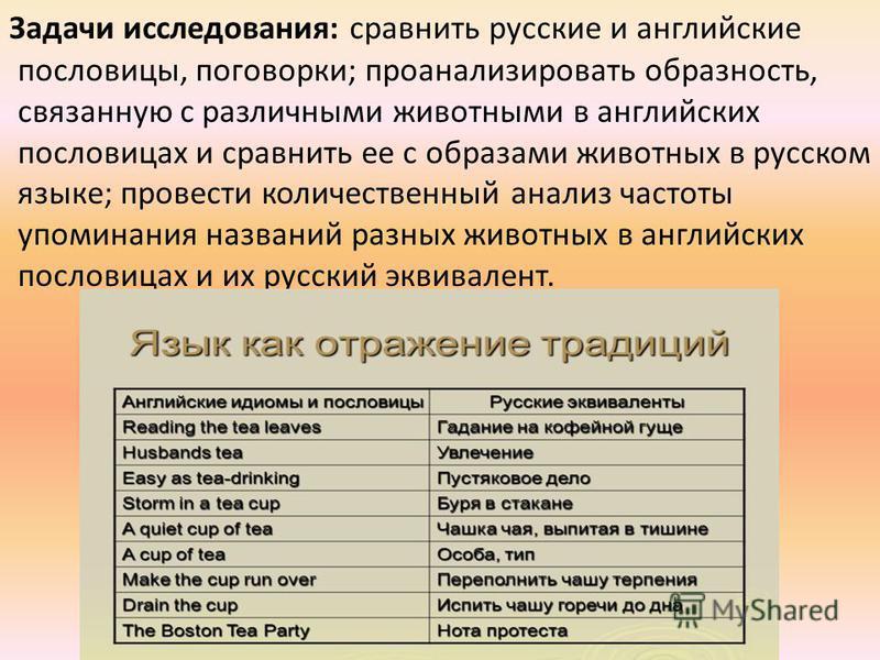 Задачи исследования: сравнить русские и английские пословицы, поговорки; проанализировать образность, связанную с различными животными в английских пословицах и сравнить ее с образами животных в русском языке; провести количественный анализ частоты у