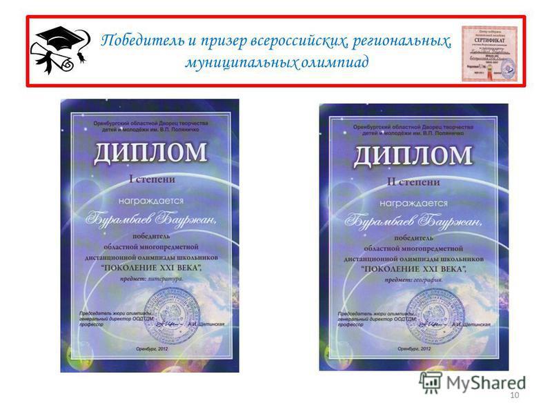 Победитель и призер всероссийских, региональных, муниципальных олимпиад 10