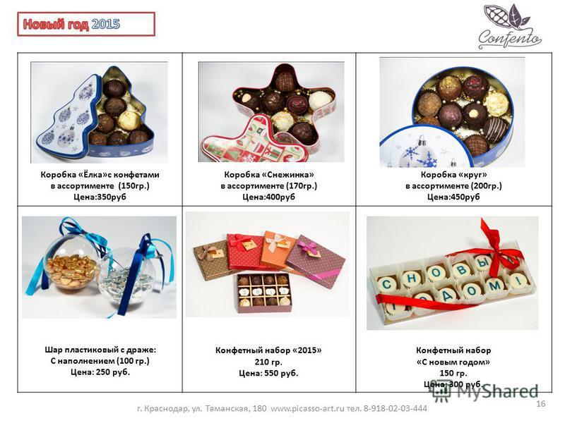 Коробка «Ёлка»с конфетами в ассортименте (150 гр.) Цена:350 руб Коробка «Снежинка» в ассортименте (170 гр.) Цена:400 руб Коробка «круг» в ассортименте (200 гр.) Цена:450 руб Шар пластиковый с драже: С наполнением (100 гр.) Цена: 250 руб. Конфетный на