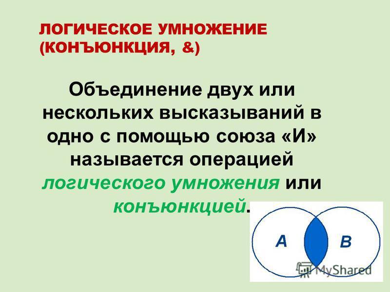 ЛОГИЧЕСКОЕ УМНОЖЕНИЕ (КОНЪЮНКЦИЯ, &) Объединение двух или нескольких высказываний в одно с помощью союза «И» называется операцией логического умножения или конъюнкцией.