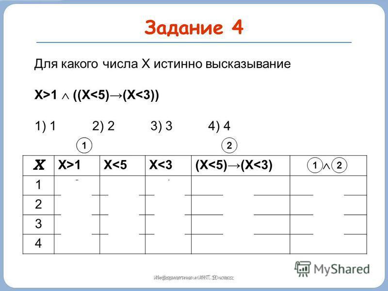 Задание 4 Информатика и ИКТ. 10 класс Х X>1X