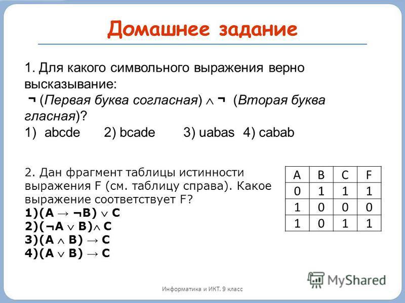 Домашнее задание Информатика и ИКТ. 9 класс 1. Для какого символьного выражения верно высказывание: ¬ (Первая буква согласная) ¬ (Вторая буква гласная)? 1)abcde 2) bcade 3) uabas 4) cabab ABCF 0111 1000 1011 2. Дан фрагмент таблицы истинности выражен
