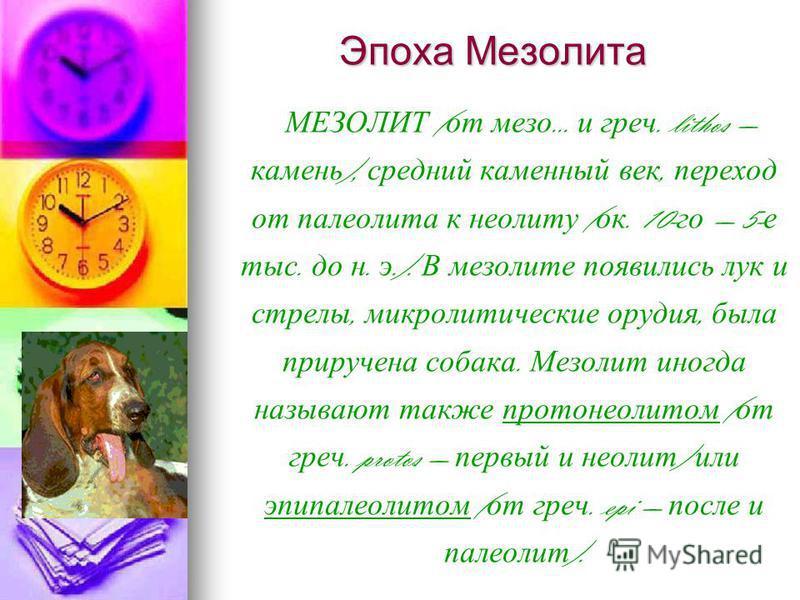 Эпоха Мезолита МЕЗОЛИТ ( от мезо... и греч. lithos камень ), средний каменный век, переход от пареолита к неголиту ( ок. 10- го 5- е тыс. до н. э.). В мезолите появились лук и стрелы, микролитические орудия, была приручена собака. Мезолит иногда назы