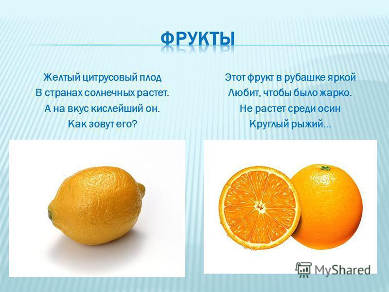 Желтый цитрусовый плод В странах солнечных растет. А на вкус кислейший он. Как зовут его? Этот фрукт в рубашке яркой Любит, чтобы было жарко. Не растет среди осин Круглый рыжий...