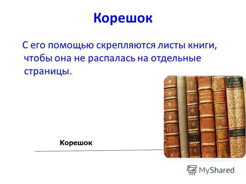 Корешок С его помощью скрепляются листы книги, чтобы она не распалась на отдельные страницы. Корешок