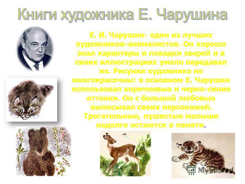 Е. И. Чарушин- один из лучших художников-анималистов. Он хорошо знал характеры и повадки зверей и в своих иллюстрациях умело передавал их. Рисунки художника не многокрасочны: в основном Е. Чарушин использовал коричневые и черно-синие оттенки. Он с бо
