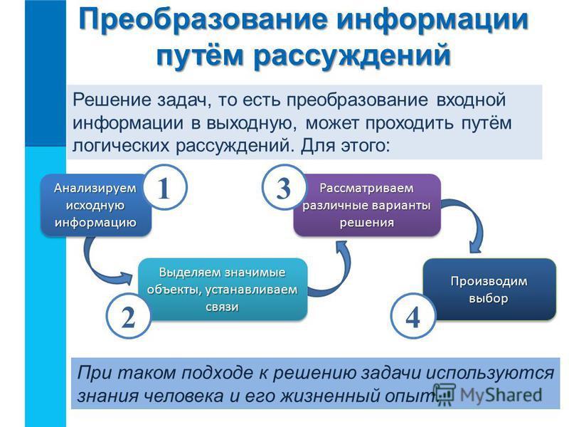 Преобразование информации путём рассуждений Решение задач, то есть преобразование входной информации в выходную, может проходить путём логических рассуждений. Для этого: Анализируем исходную информацию Выделяем значимые объекты, устанавливаем связи Р