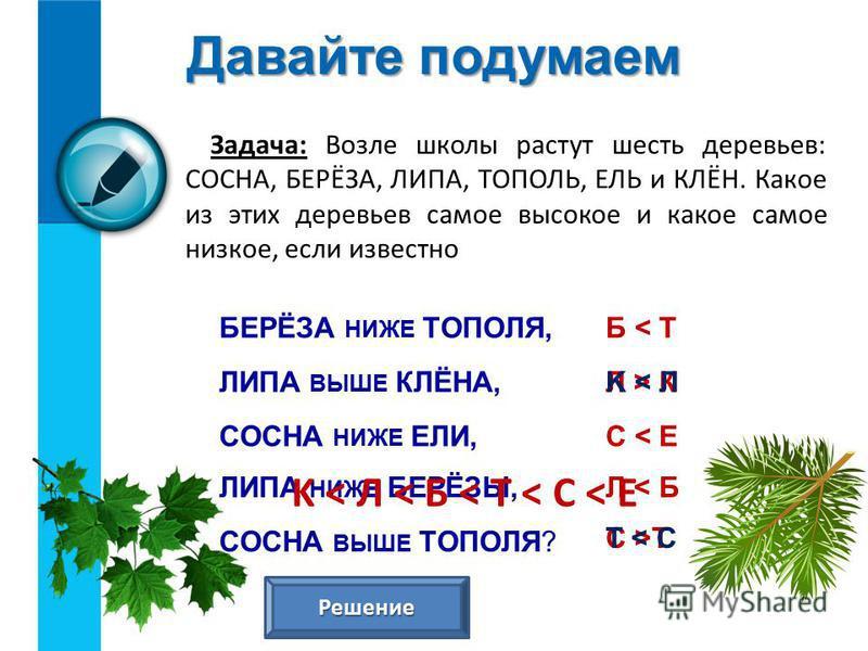 Давайте подумаем Задача: Возле школы растут шесть деревьев: СОСНА, БЕРЁЗА, ЛИПА, ТОПОЛЬ, ЕЛЬ и КЛЁН. Какое из этих деревьев самое высокое и какое самое низкое, если известно БЕРЁЗА НИЖЕ ТОПОЛЯ, ЛИПА ВЫШЕ КЛЁНА, СОСНА НИЖЕ ЕЛИ, ЛИПА НИЖЕ БЕРЁЗЫ, СОСНА