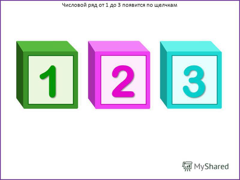 Числовой ряд от 1 до 3 появится по щелчкам