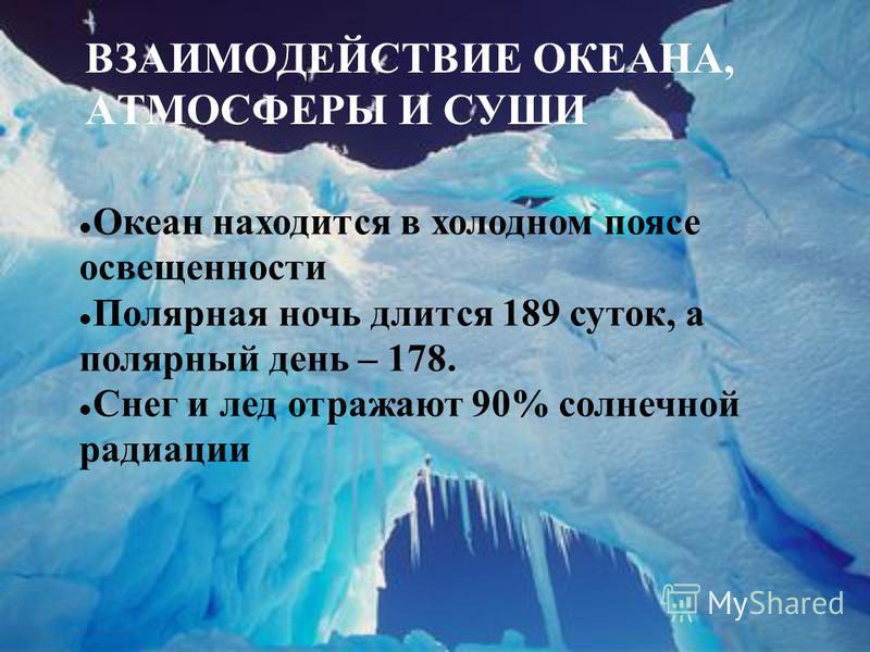 ВЗАИМОДЕЙСТВИЕ ОКЕАНА, АТМОСФЕРЫ И СУШИ Океан находится в холодном поясе освещенности Полярная ночь длится 189 суток, а полярный день – 178. Снег и лед отражают 90% солнечной радиации