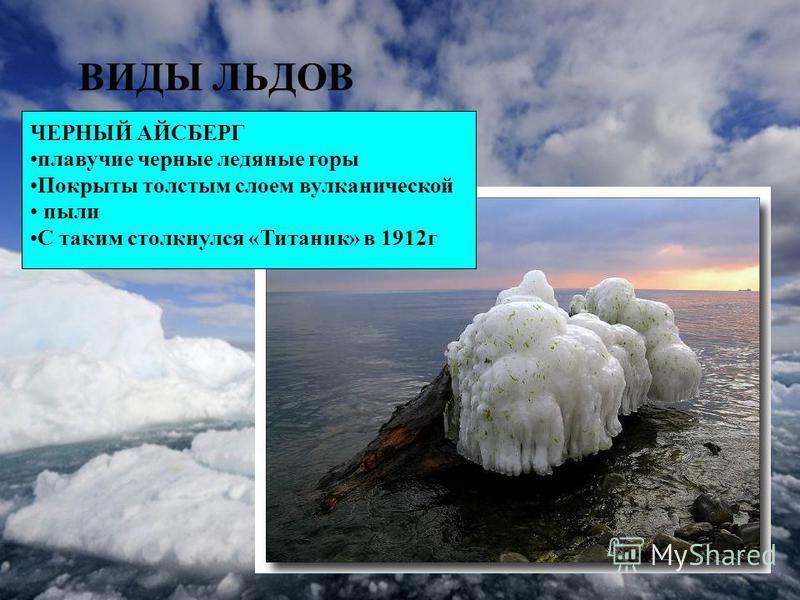 ВИДЫ ЛЬДОВ ЧЕРНЫЙ АЙСБЕРГ плавучие черные ледяные горы Покрыты толстым слоем вулканической пыли С таким столкнулся «Титаник» в 1912 г