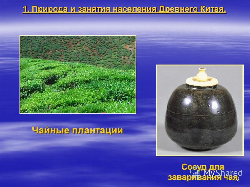 13 Чайные плантации Сосуд для заваривания чая 1. Природа и занятия населения Древнего Китая.