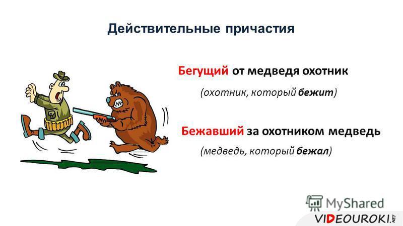 Действительные причастия Бежавший за охотником медведь Бегущий от медведя охотник (охотник, который бежит) (медведь, который бежал)