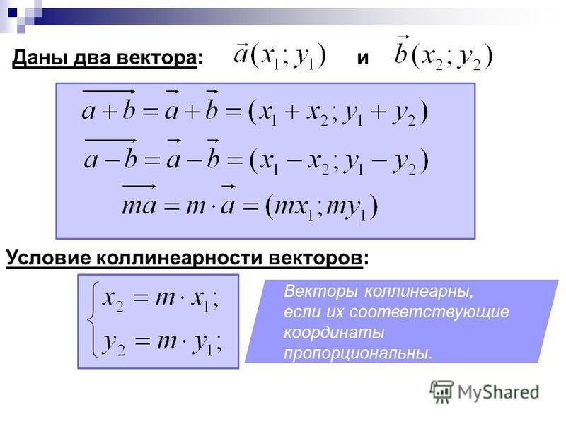 Даны два вектора: и Условие коллинеарности векторов: Векторы коллинеарны, если их соответствующие координаты пропорциональны.