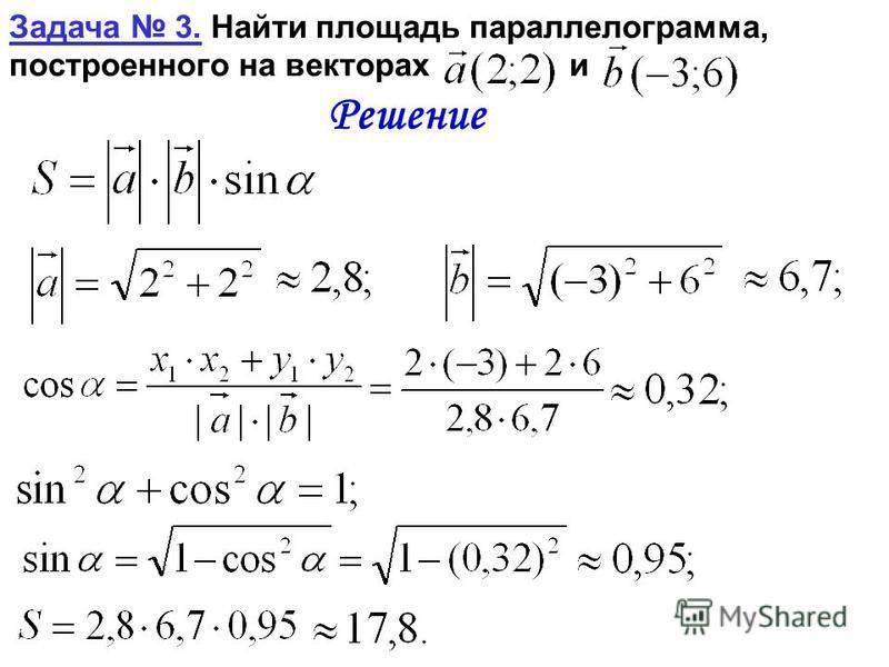 Задача 3. Найти площадь параллелограмма, построенного на векторах и Решение